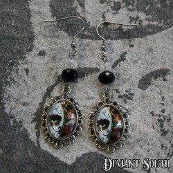 Deviant South Cabochon Earrings (pair) - Sugar Skull Lady Style-2