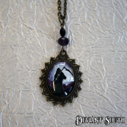 Deviant South 'Reap My Soul' Cabochon Bronze Necklace - Purple Grim Reaper