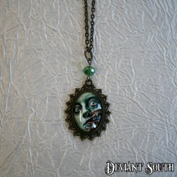 Deviant South 'Smile' Cabochon Bronze Necklace - Green Zombie Face