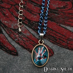 Deviant South 'Never Let Go' Small Cabochon Necklace - Bloody Hand