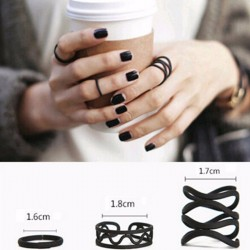 Black Midi Knuckle Stackable Rings (Style 2) - 3 Piece Set