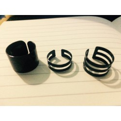 Black Midi Knuckle Stackable Rings (Style 3) - 3 Piece Set