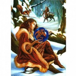 Yuletide 'Christmas' Wiccan Pagan Greeting Card - Scrying the New Year