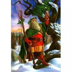 Yuletide 'Christmas' Wiccan Pagan Greeting Card - Gathering the Mistletoe