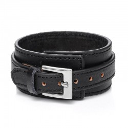 [On Demand] Wide Genuine Leather Unisex Wristband - Small Buckle