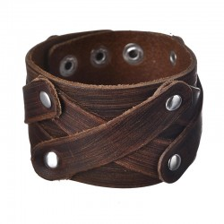 [On Demand] Wide Genuine Leather Unisex Wristband - Brown - X Pattern Rivet