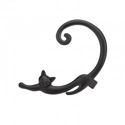 Stretched Out Cat Stud Ear-cuff - Black (single)