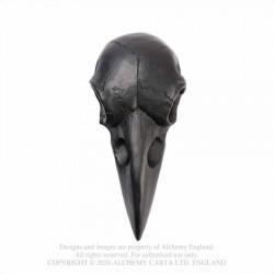 New Releases! Alchemy Gothic V99B Raven Skull Hand Mirror - Black
