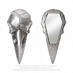 New Releases! Alchemy Gothic V99S Raven Skull Hand Mirror - Antique Silver