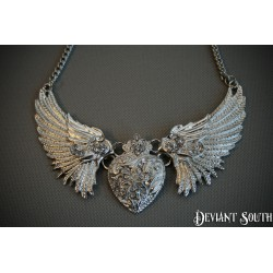 Silver Angel Wings Heart Rhinestone Necklace