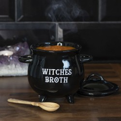 Black Magic Witches Broth Cauldron Soup Bowl with Broom Spoon