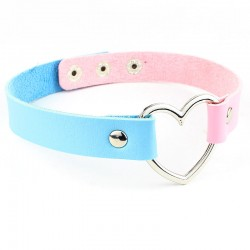 PU Leather Heart Choker - Two-tone - Light Pink & Light Blue