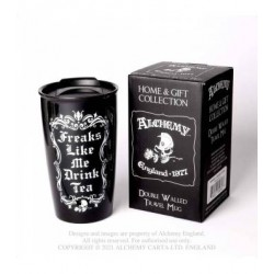 New Release! Alchemy Gothic MRDWM7 Freaks Like Me Drink Tea: Double Walled Mug