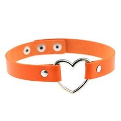 PU Leather Heart Choker Collar - Orange