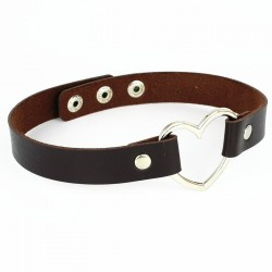 PU Leather Heart Choker Collar - Dark Brown