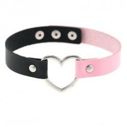 PU Leather Heart Choker Collar - Two-tone Black & Light Pink