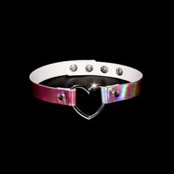 PU Leather Heart Choker - Holographic Pink