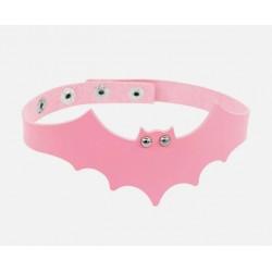 PU Leather Bat Choker - Light Pink