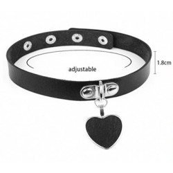 PU Leather Heart Secured Choker - Black