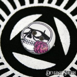 DIY 15mm Wood Button - Skull with Pink Rose (single)