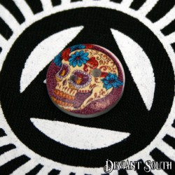 DIY 15mm Wood Button - Sugar Skull with Blue Flowers (single)