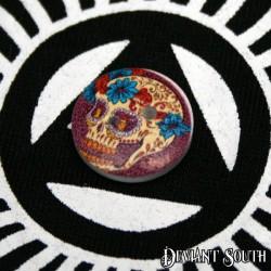 DIY 15mm Wood Button - Sugar Skull with Blue Flowers (single)
