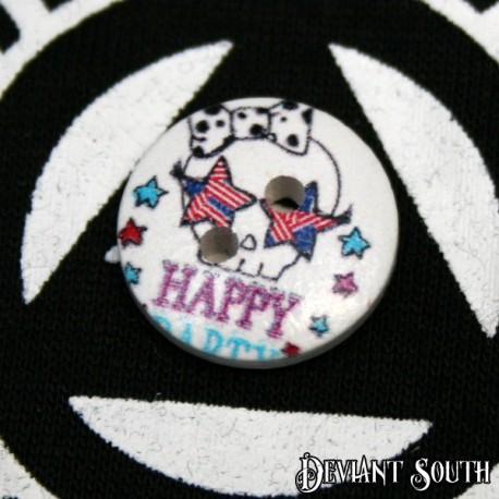 DIY 15mm Wood Button - American-flag Star-eyed Skull (single)