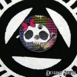 DIY 15mm Wood Button - Skull with Guitar (single)