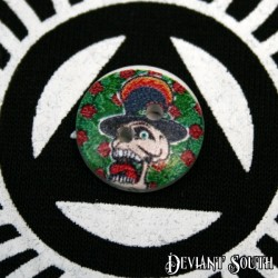 DIY 15mm Wood Button - DIY 15mm Wood Button - Skull with Top Hat (single)