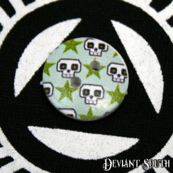 DIY 15mm Wood Button - DIY 15mm Wood Button - Skulls and Stars (single)