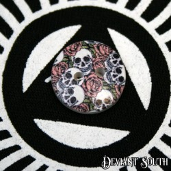 DIY 15mm Wood Button - DIY 15mm Wood Button - Skulls and Roses (single)