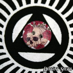 DIY 15mm Wood Button - Skull with Red Roses (single)